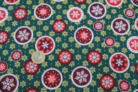 Popelin vianoce - snowflakes - green