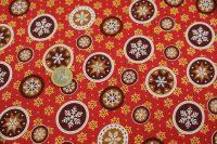 Popelin vianoce snowflakes - red