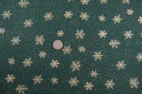 Popelin vianoce snowflakes/green