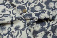 Žakár blue/ivory - flowers