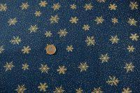 Popelin vianoce snowflake/blue