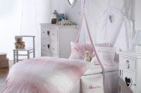 Detská damašková posteľná súprava - srdiečka- rosa