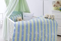 Detská damašková posteľná súprava cabrio - green/blue